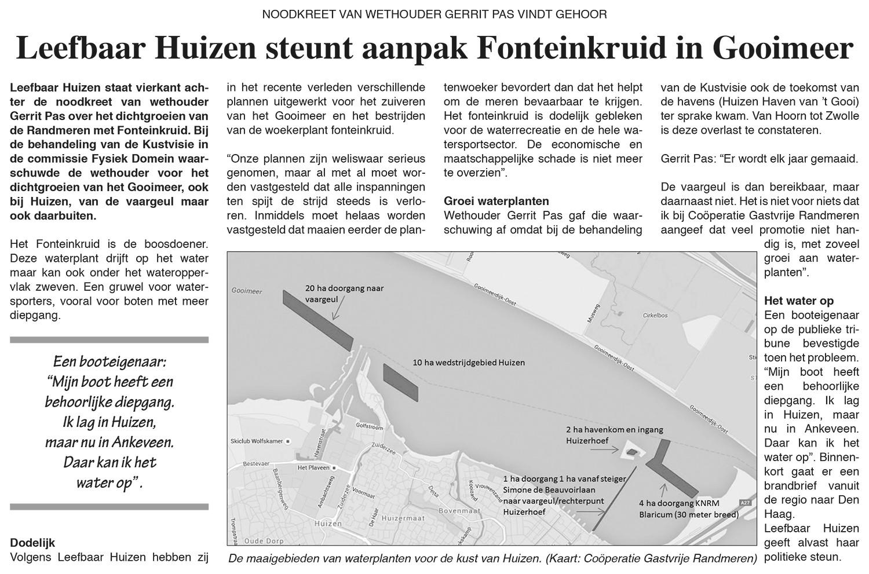 Leefbaar Huizen steunt aanpak Fonteinkruid in Gooimeer | Huizer Courant 8 februari 2018