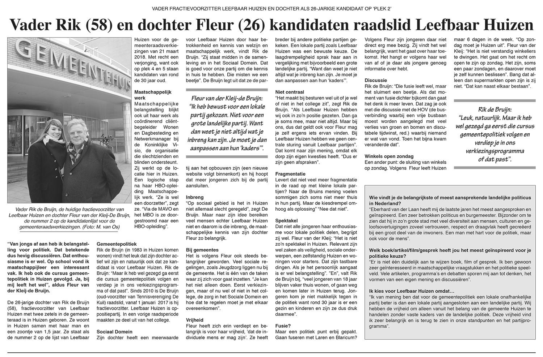 Huizer Courant Verkiezingsnieuws 8 Februari 2018 - Interview Rik & Fleur de Bruijn